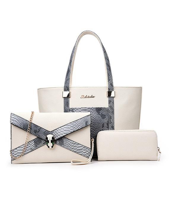 205bf2aefd Snake Handbag PU Leather Shoulder Bag Three Pieces Set