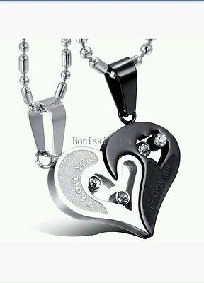 8fd08425a33b4 His and Hers Stainless Steel I Love You Heart Yin Yang Necklace 2 pc ...