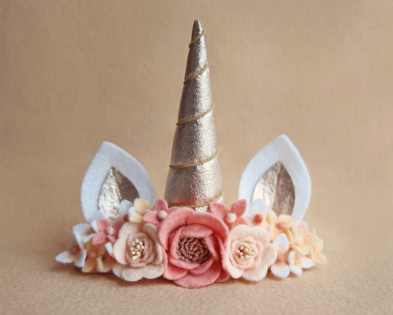 Unicorn Headband Party Felt Flowers