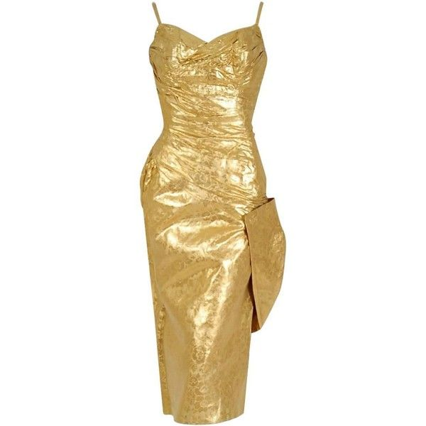 1950's Beaumelle Metallic-Gold Ruched Lame Silk Sculpted Bow Cocktail... (1.880 BRL) ❤ liked on Polyvore featuring dresses, gathered dress, shirring dress, bow dress, ruching dress and ruched cocktail dress