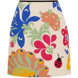 Victoria, Victoria Beckham Printed cotton-canvas mini skirt