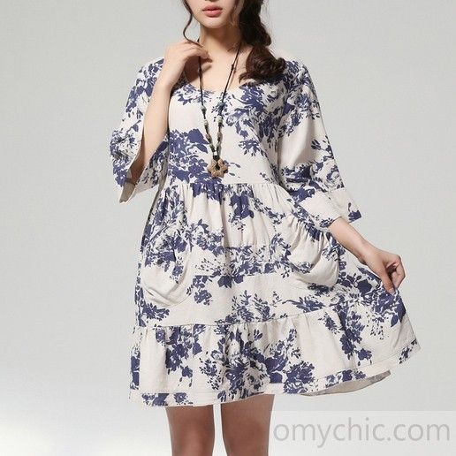 plus size cotton dress half sleeve sundress in white and blue ...