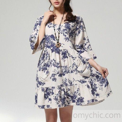 a6f2e2e6eeee3 plus size cotton dress half sleeve sundress in white and blue - Shift Dress  - Summer Dresses