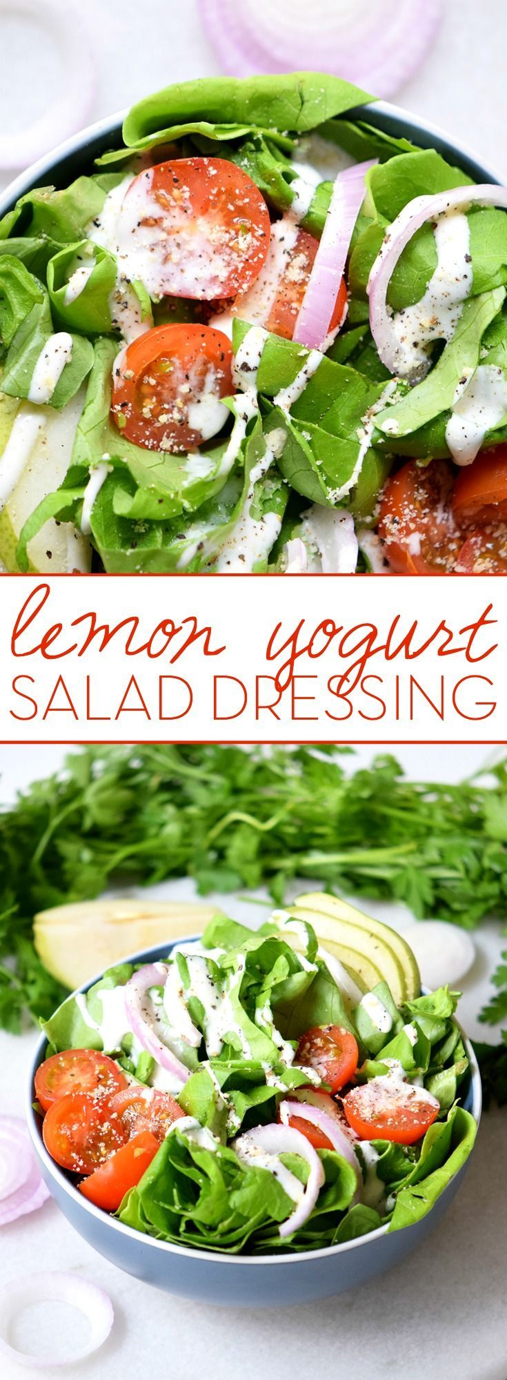 Lemon Yogurt Salad Dressing This healthy dressing starts with a Greek Yogurt base and kicks it up with Lemon and Thyme. The result is a creamy lemon yogurt salad dressing you'll be drizzling on everything!This healthy dressing starts with a Greek Yogurt base and kicks it up with Lemon and Thyme. The result is a creamy lemon yogurt salad dressing you'll be drizzli...