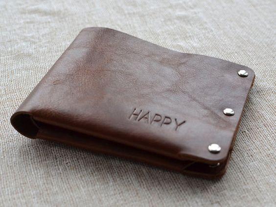 super popular 12f1b 9b784 Hecho a mano cartera vintage Slim Bifold billetera ...