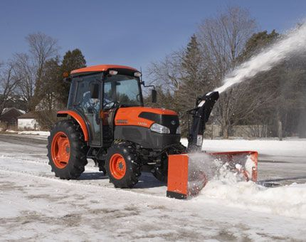 Kubota Tractor Cab With Snowblower Hubby Loves His Kubota Winter Summer Attachments Tractors Kubota Tractors Tractor Snow Plow