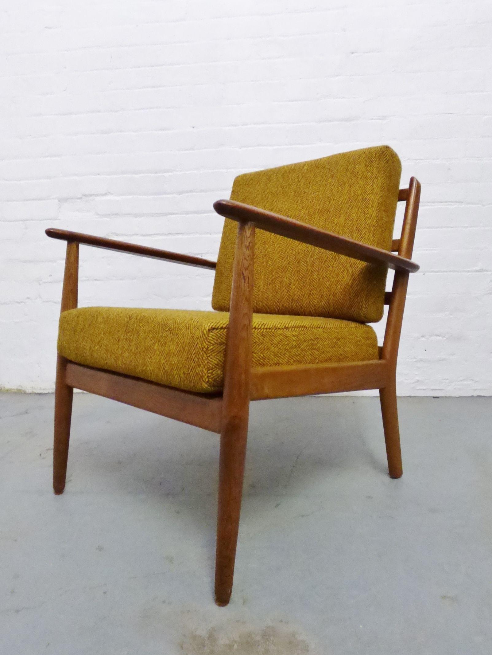 Mid century Danish oak lounge chair with chunky yellow wool