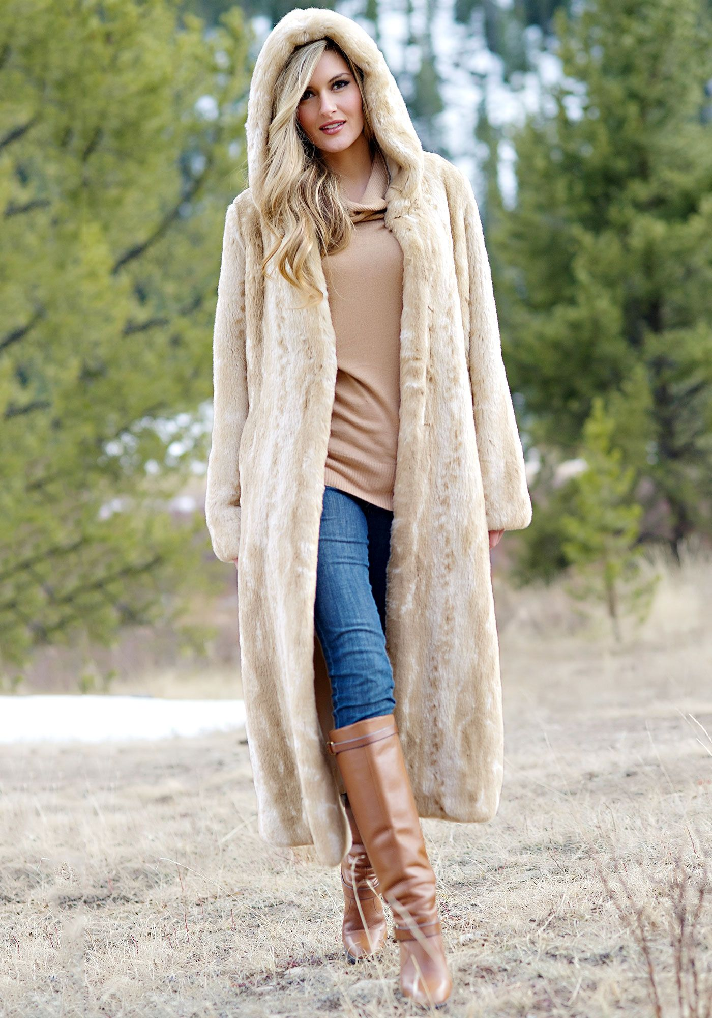 Blonde Mink Full-Length Hooded Faux Fur Coat | Fabulous-Furs ...