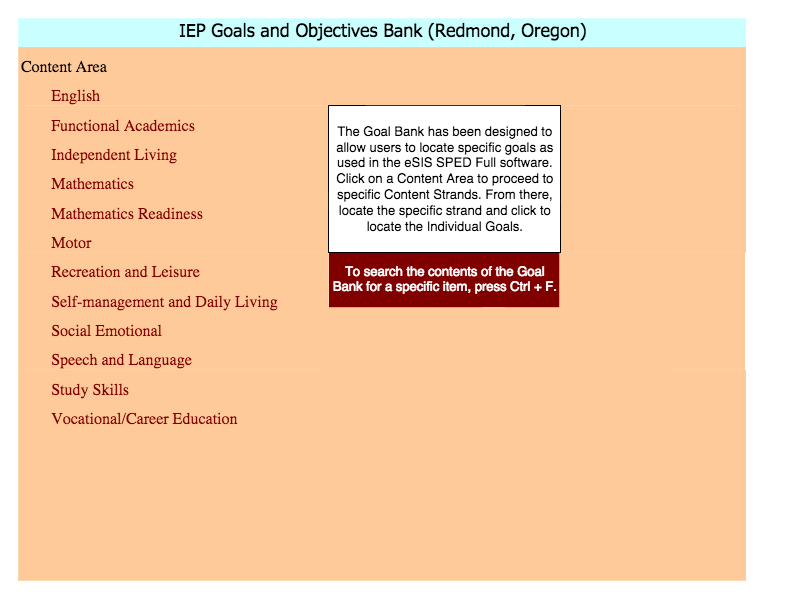 Iep  GoalsObjectives Goal Bank Examples  Special Needs