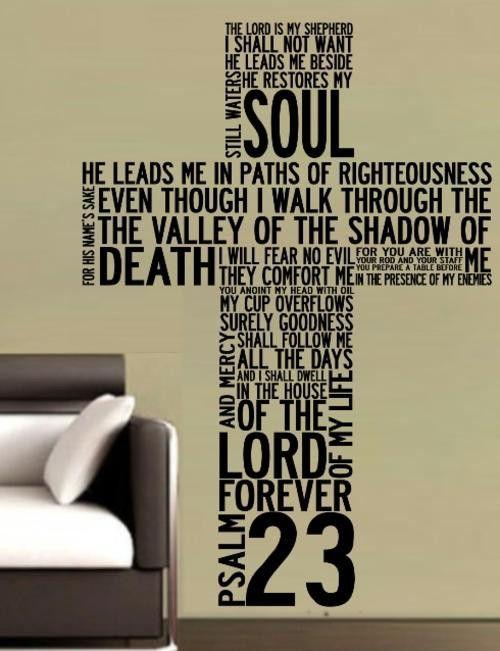 Psalm 23 Cross Bible Quotation Sticker Large Vinyl Decal Vinyl Lady Decals Vinyl Decals Psalms
