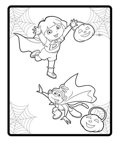 coloring pages dora halloween special | Color in this picture of Dora and Boots ready to go trick ...