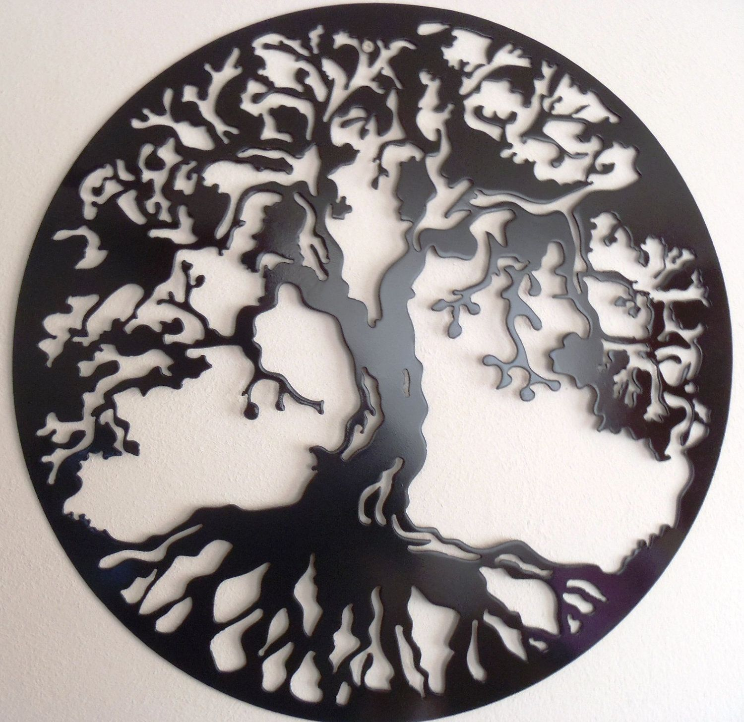 Round Metal Wall Art Decor Tree Of Life Large Wall Decor Metal Art  Black$32.00 Via