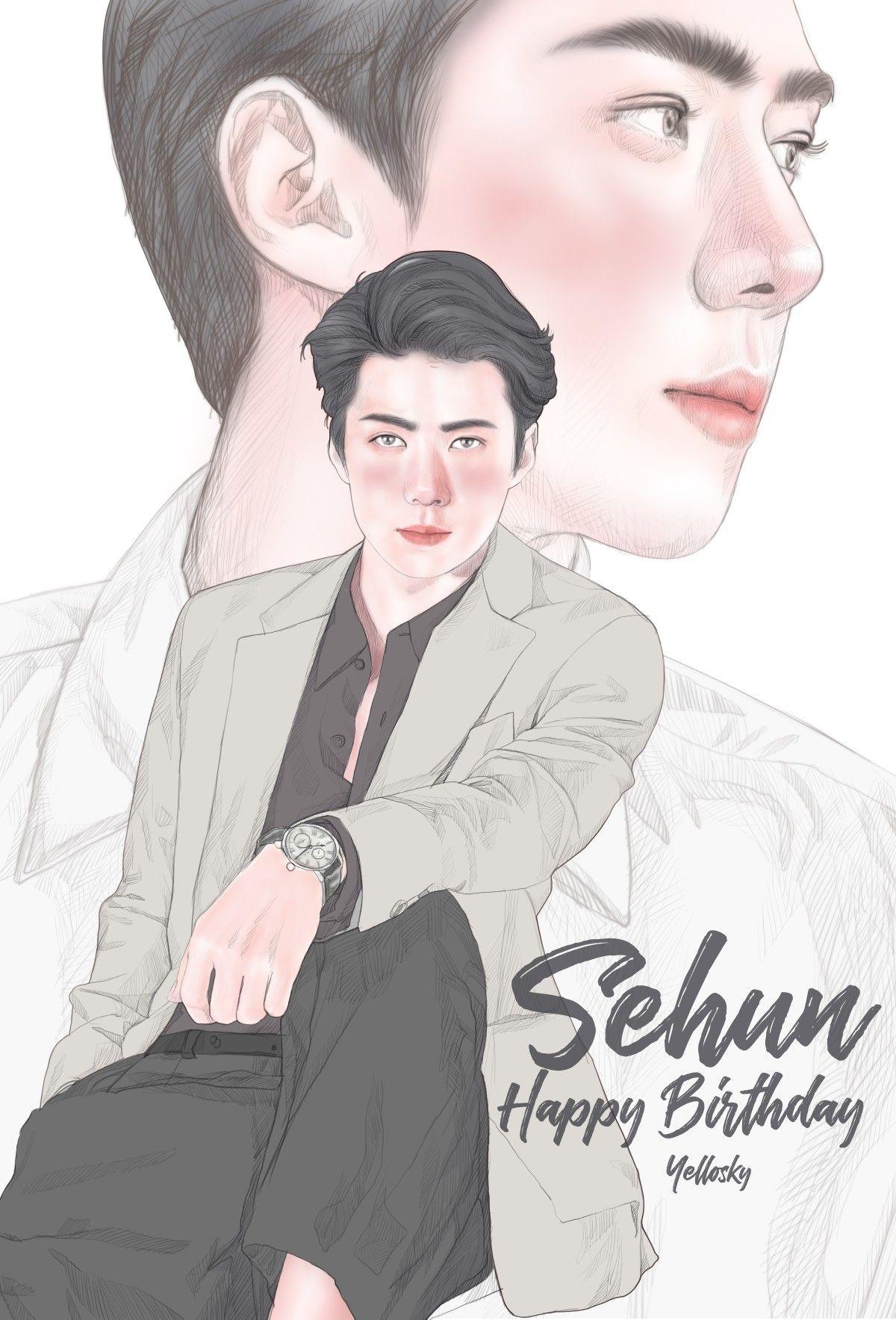 Happy Birthday To My Sehun Exo Fanart Ilustrasi Ilustrasi Kartun Gambar