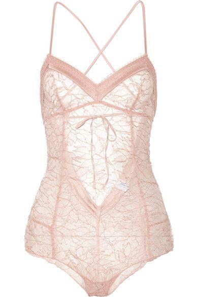 satin-trimmed lace bodysuit