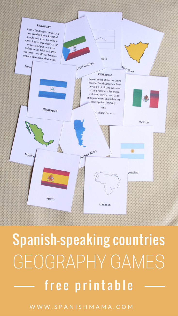Printable Spanish Speaking Countries And Capitals Game