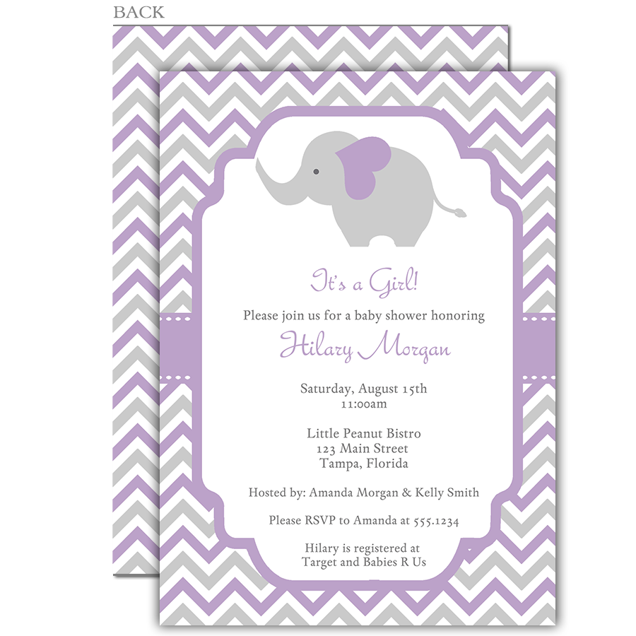 Chevron Elephant Purple Baby Shower Invitation | Grey chevron ...