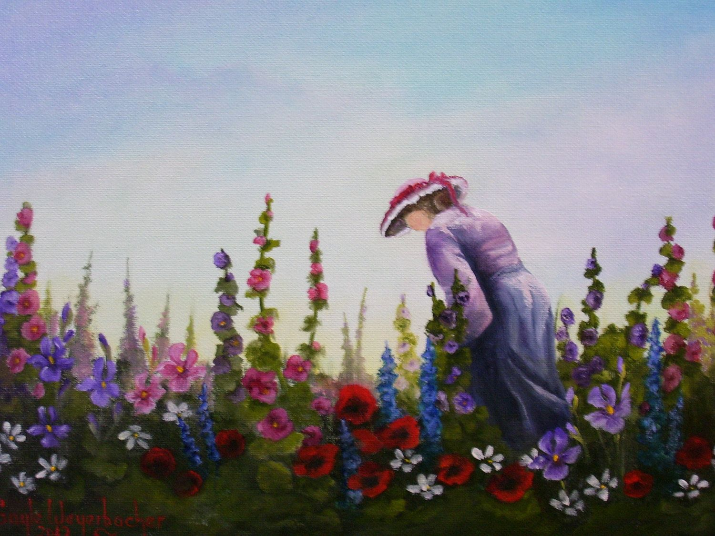 Lady in flower garden by GrandmaGaylesArt on Etsy
