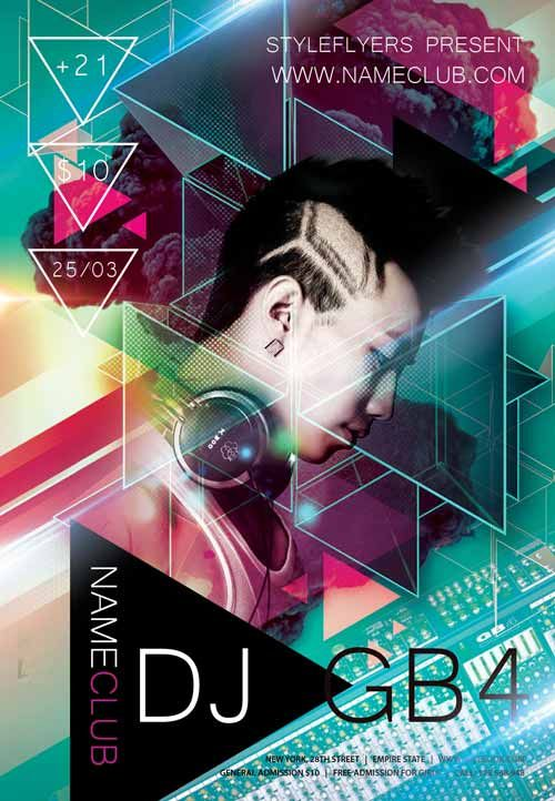 Electro DJ Club Free Flyer Template… | A R T 2 | Pinterest | Free ...
