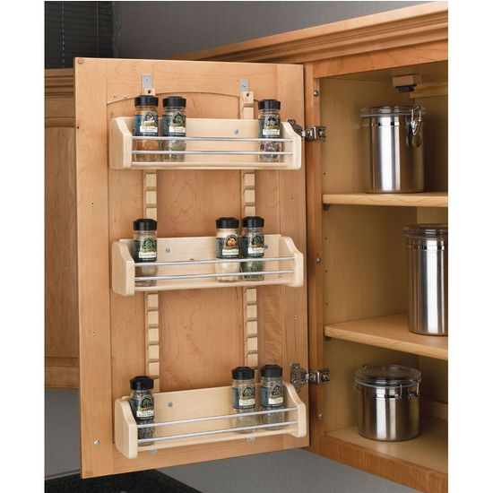 Spice Organizers For Kitchen Cabinets: Adjustable Door Mount Spice Rack. Maple Wood