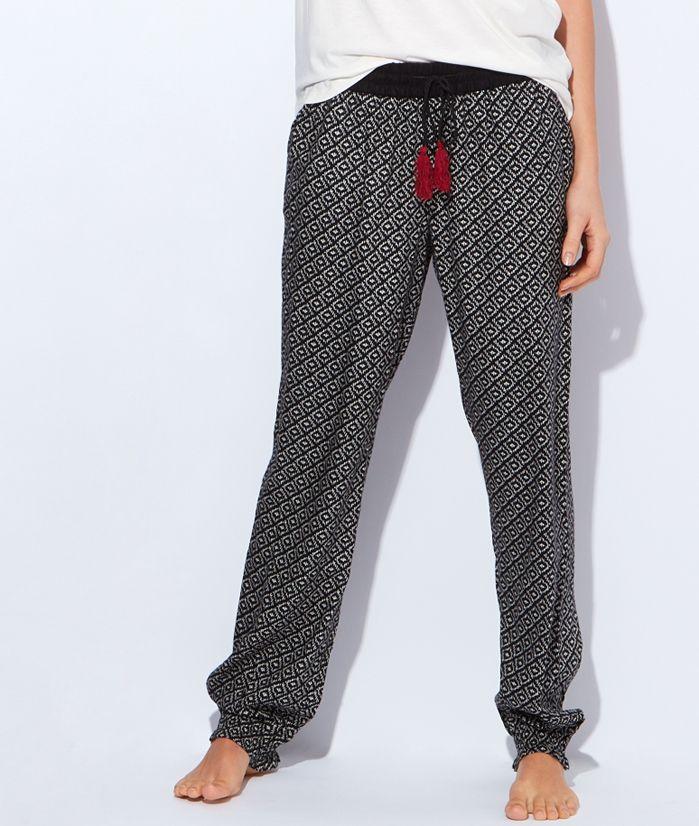 f8fca0a3f8c39d Pantalon d'intérieur à motifs ethniques noirs ETAM | Art | Pantalon ...