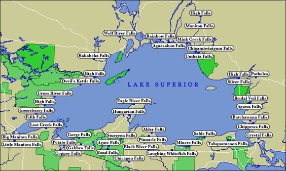 Bond Falls Michigan Map.Map Of Lake Superior Waterfalls Travel In 2019 Pinterest Lake