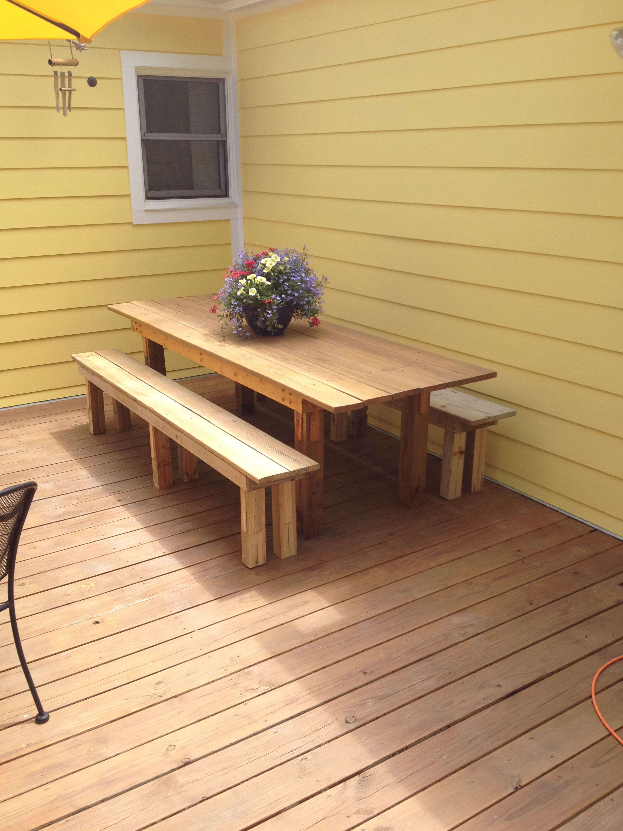 Outdoor Dining Table With Benches I Built Out Of Conserved Deck Wood Outdoor Dining Table Dining Table With Bench Outdoor Decor