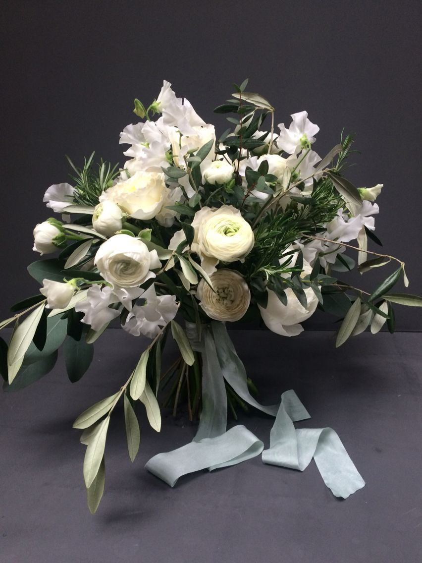 White Flowers And Olive Foliage Bridal Bouquet