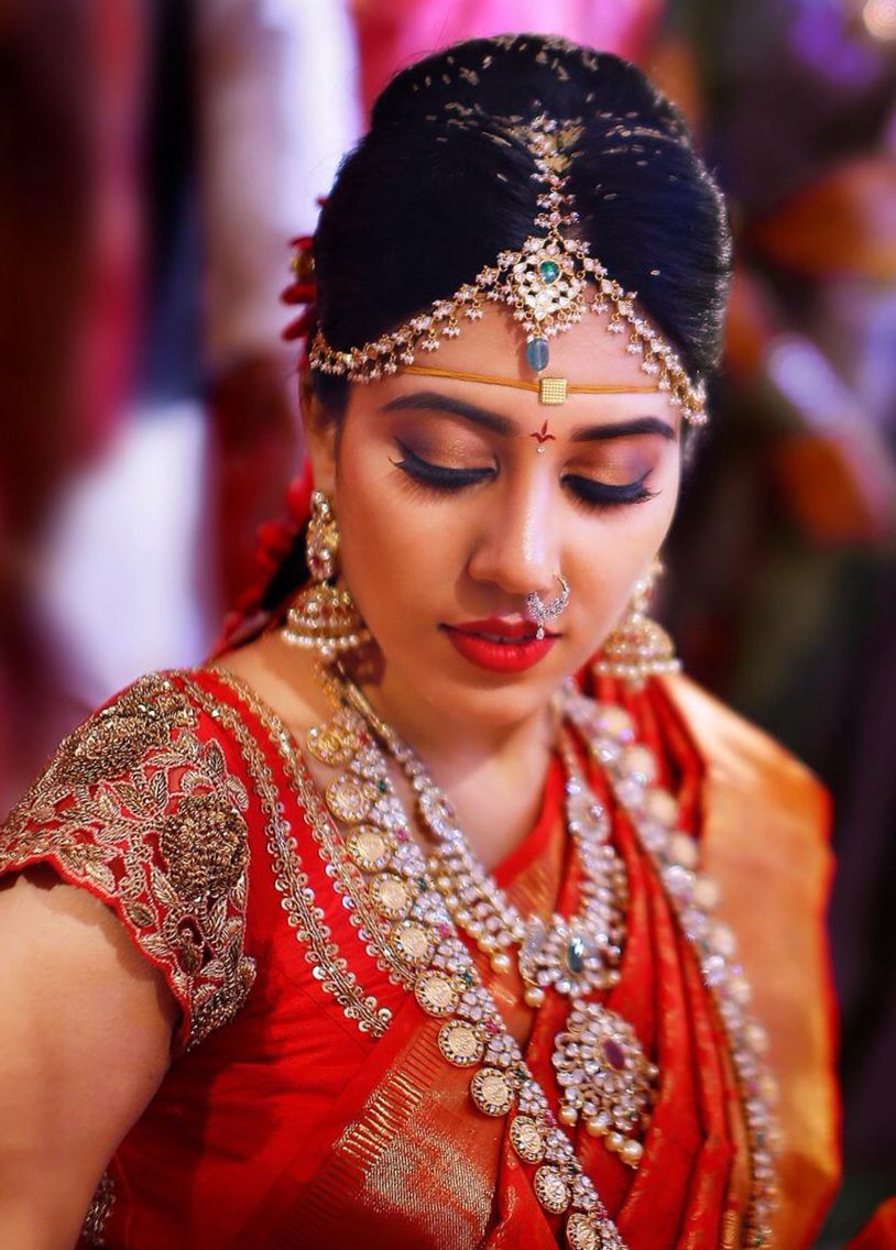 South Indian Bride Temple Indian Bridal Jewelry Jhumkis Red Silk