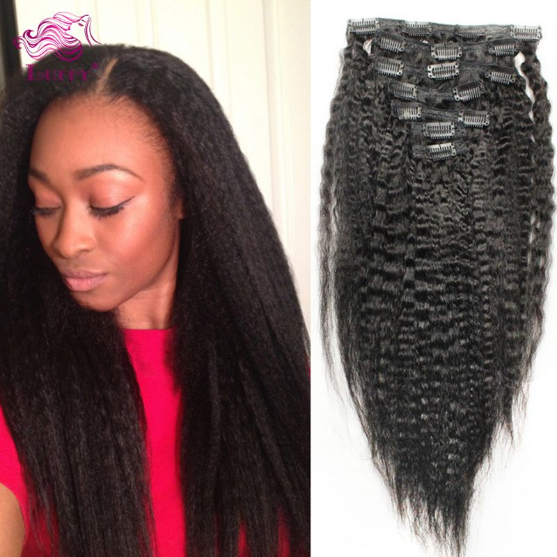 Kinky Straight Clip In Hair Extensions 100 Remy Human Hair
