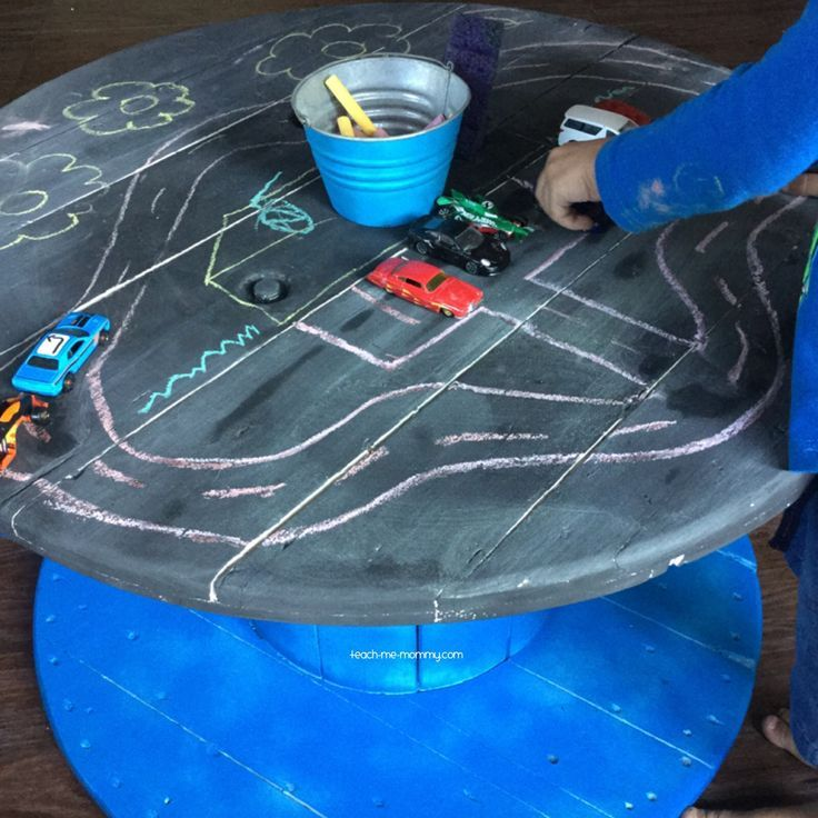 Turn an old spool into an awesome chalk table for the kids!