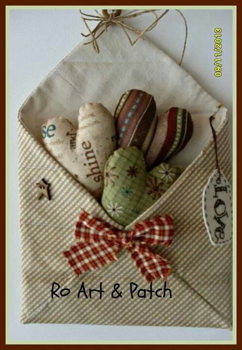 Sewing envelope with hearts