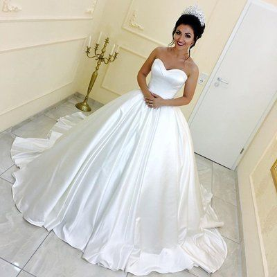 White Satin Bridal Wedding Dresses Ball Gowns With Sweetheart Neckline Jd 157