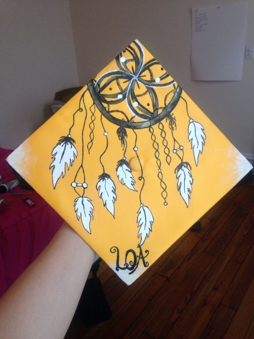 dreamcatcher native american style grad cap for a student in charlottesville  black and yellow