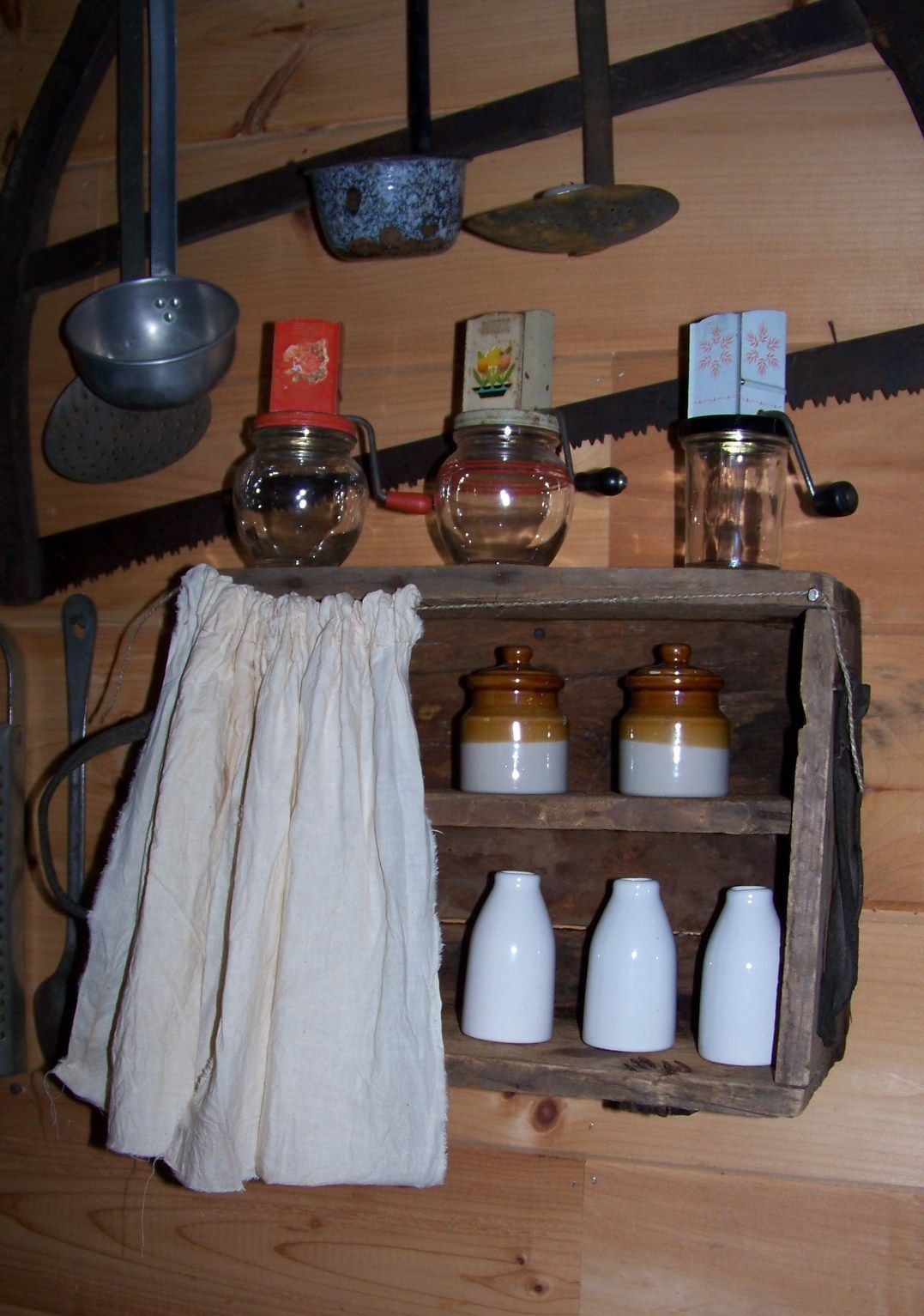 Sheepscot River Primitives - old wooden box re purposed into an very primitive cupboard.