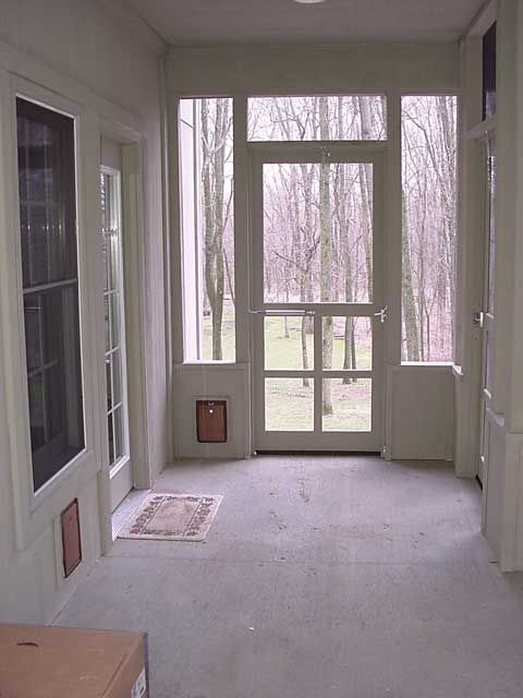 I Love The Idea Of Doggie Doors We May Try This In Our Breezeway Sunroom Addition Indoor Dog Room Breezeway