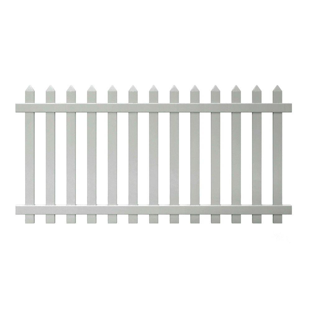 Veranda Glendale 4 Ft H X 8 Ft W White Vinyl Spaced Picket Fence Panel With Pointed Pickets 128004 The Home Depot Vinyl Fence Picket Fence Panels Vinyl Fence Panels