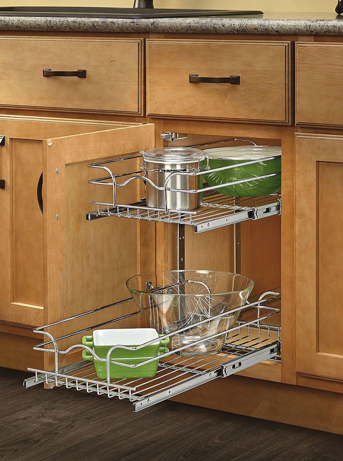 Delightful Rev A Shelf Base Cabinet Pullout 2 Tier Wire Basket Reduced Depth Sink U0026  Base Accessories, 9 W X 18 D Inches