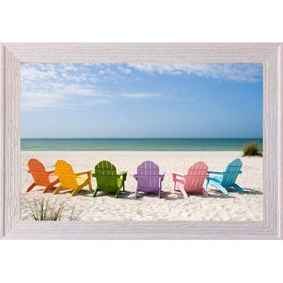 Highland Dunes Beach Chairs Framed Photographic Print Canvas