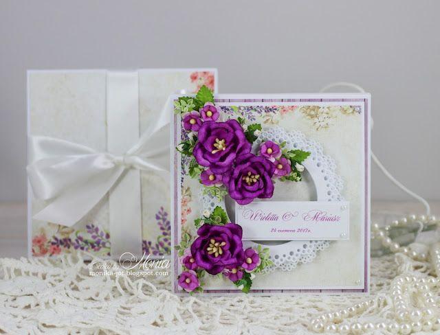 Kartka Kwadratowa I Podluzna Purple Wedding Card Purple Wedding Cards