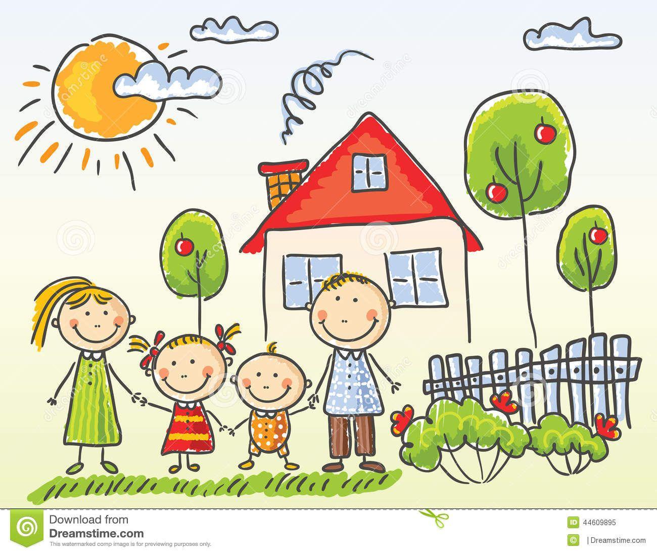 Ilustraciones La Casa Y Familia Buscar Con Google Desenho De
