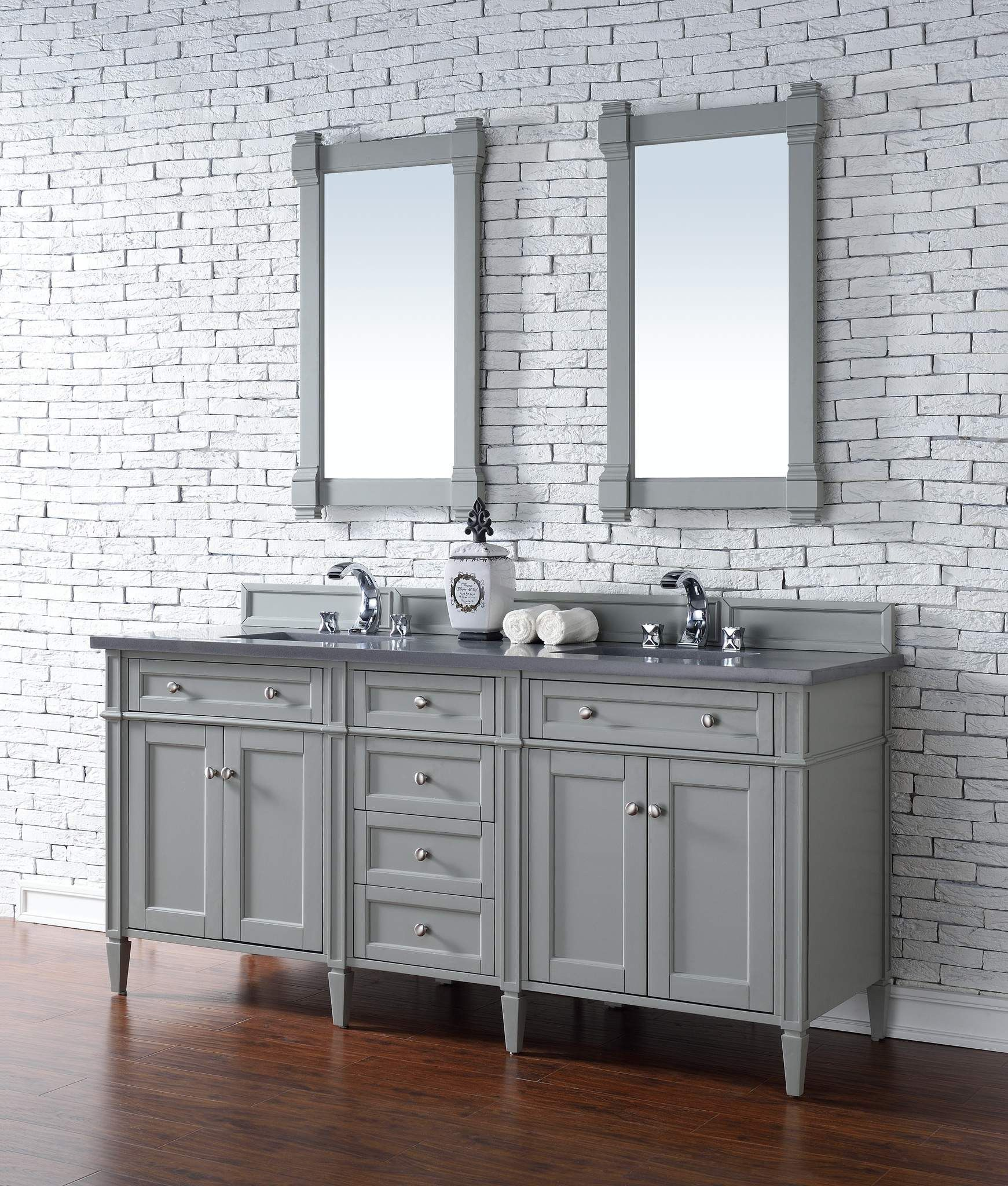Brittany 72 Urban Gray Double Vanity With Shadow Gray Quartz Top