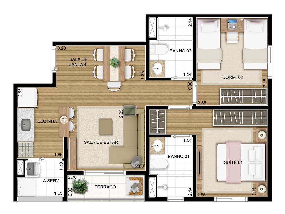 Projeto apartamento 50m2 pesquisa google house for Distribucion apartamento 50 m2
