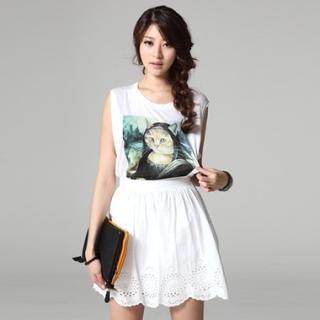 SARAH  Cat Print Sleeveless Top