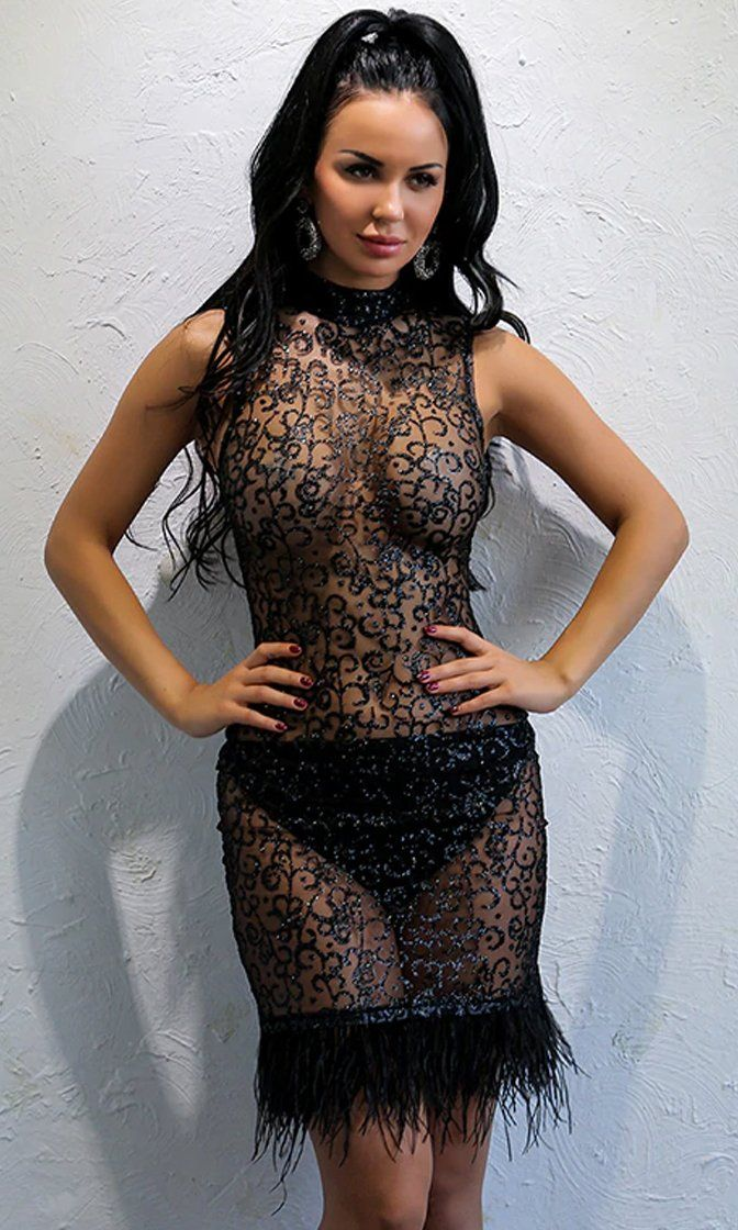 Black sheer strappy textured glitter bodycon dress young crossed the