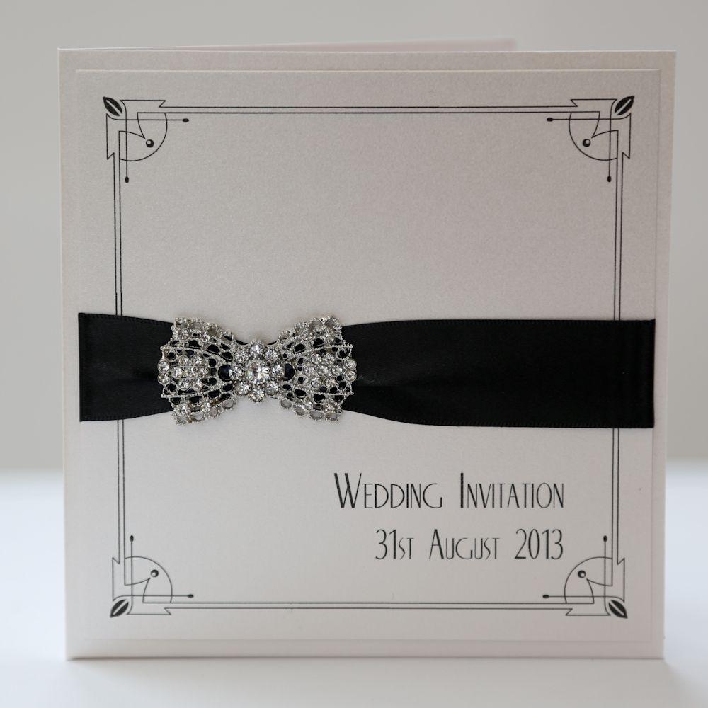 Art Deco Bow Pocket with Border in Black   wedding <3   Pinterest ...
