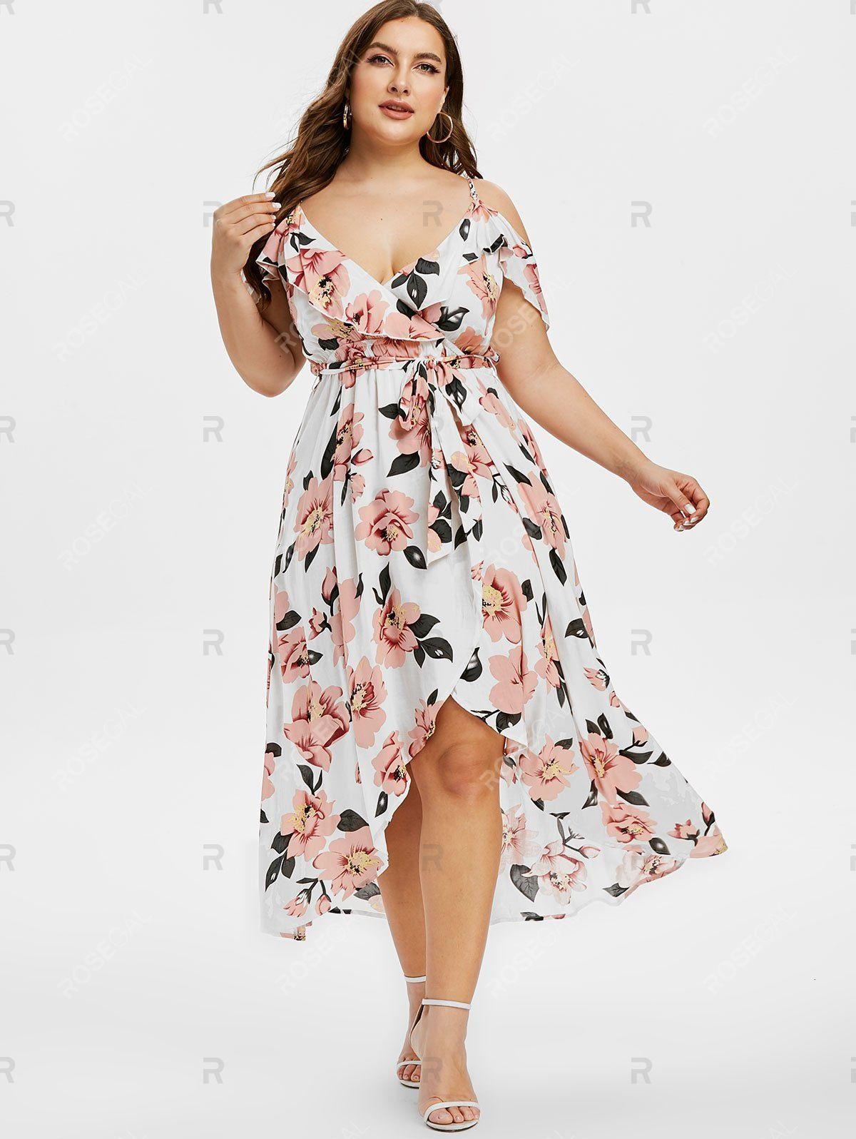 Plus Size Cold Shoulder High Low Floral Maxi Dress Floral Maxi Dress Floral Print Maxi Dress Maxi Dress [ 1596 x 1200 Pixel ]