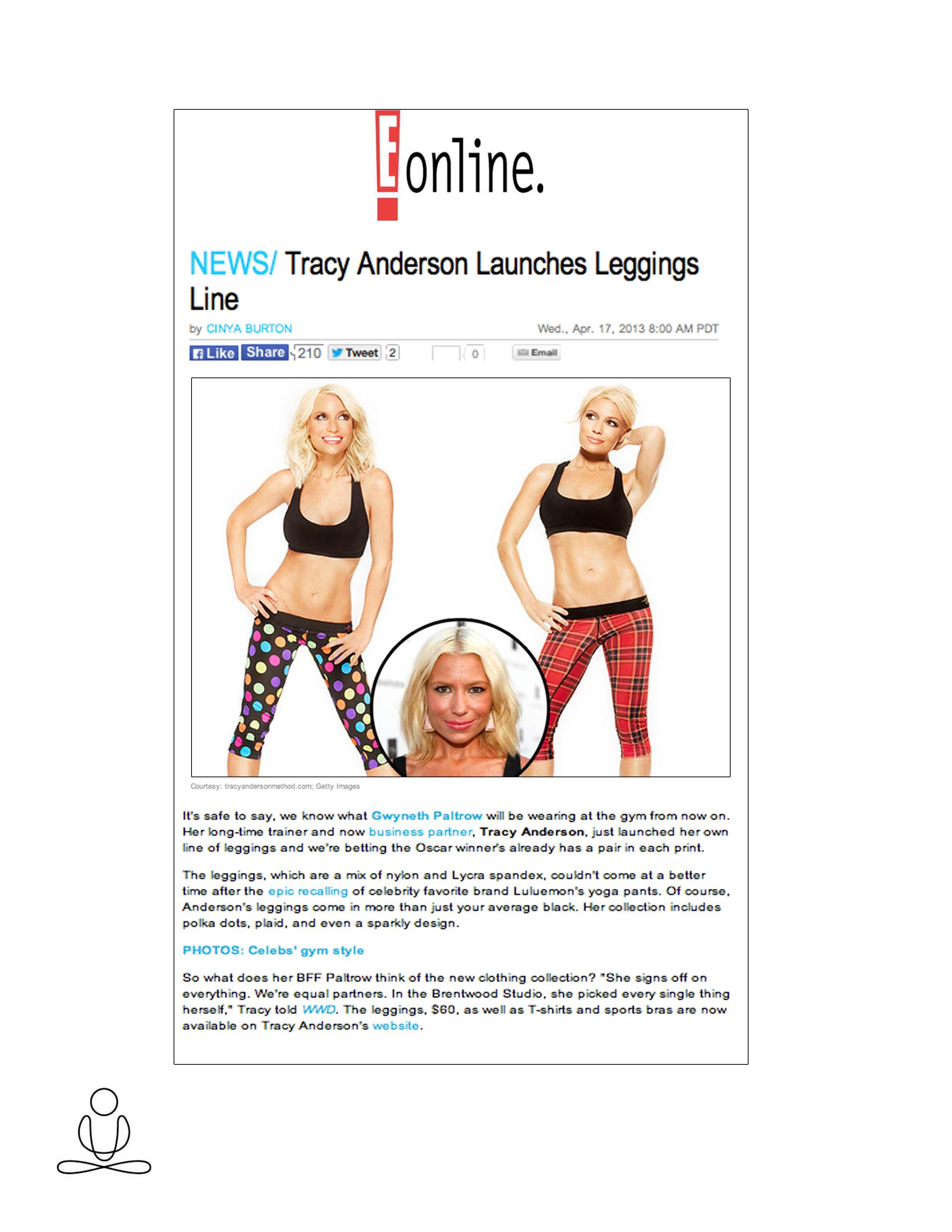 Tracy Anderson featured in E Online!
