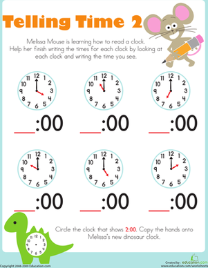 Telling Time with Melissa Mouse 2 | teaching math | Kindergarten ...