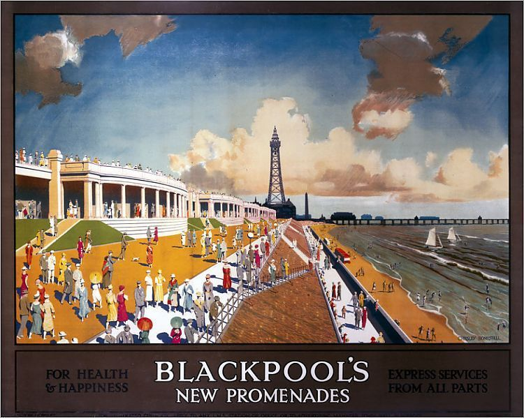 Vintage LMS Blackpool Railway Poster A3//A4 Print