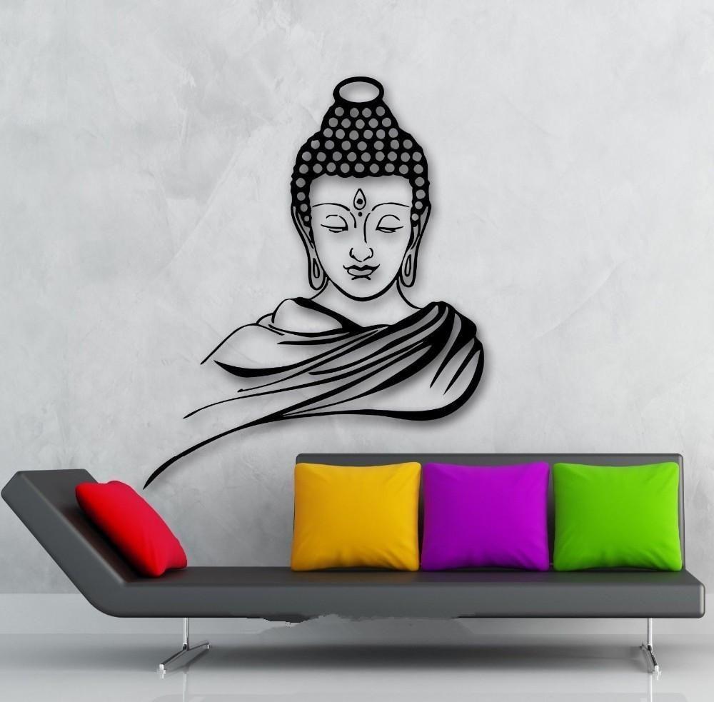 3d Buddha Meditation Removable Vinyl Wall Decal Wall Sticker Wall Art Home Decor Mural Buddhadecor 3d B Buddha Wall Painting Buddha Wall Decor Buddha Wall Art